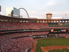 View of the Arch from the upper deck behind home plate