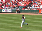 John Rodriguez runs down a flyball in left