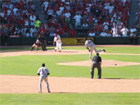 Pujols connects on a pitch from Benitez