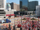 View of Old Courthouse and fans meeting around Musial statue
