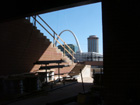 View of the Arch through a gap in the new stadium
