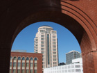 View of Eagleton Courthouse through arch in new stadium