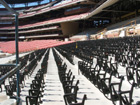 Unfinished sections of partially installed seats