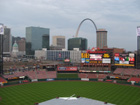 View of Arch and St. Louis skyline from behind home plate