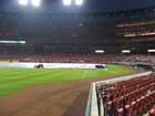 View from front row down the 3rd base line