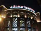 Home plate entrance to the new Busch Stadium at night