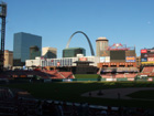 Post game view of the field and Arch from third base side