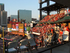 Fans battle the sun in the right field upper deck