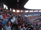 The sun sets on Busch Stadium