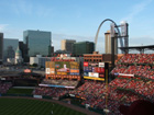 Old Courthouse, Gateway Arch, outfield scoreboard, St. Louis skyline