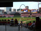 View of playing field and St. Louis skyline from directly behind home plate