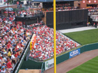 The front of the loge boxes in left field is just a few feet away from the foul pole