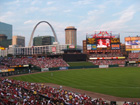 View of the outfield and the Arch from the front of section 160