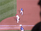 Dave Roberts was thrown out by Yadier Molina on this stolen base attempt