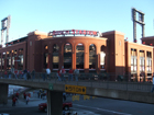 Old pedestrian bridge in front of new Busch Stadium