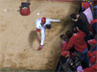 Chris Carpenter warms up before game 3 of the World Series