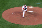 Brad Thompson pitches