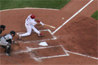 Albert Pujols golfs a ball into left for a base hit