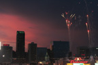 Crimson St Louis skyline with fireworks