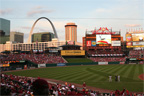 Arch St Louis skyline over Busch Stadium