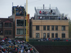 Sections surrounding the left field foul pole prior to the bleacher expansion of 2006