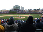 View of Wrigley field from behind home plate